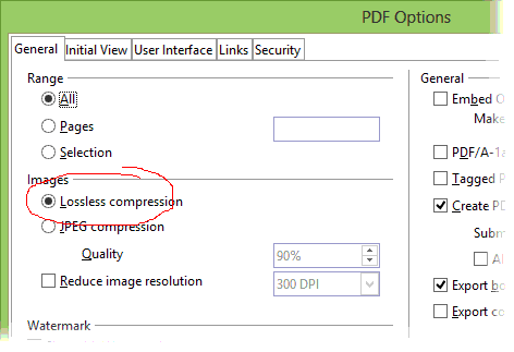 Pdf export options